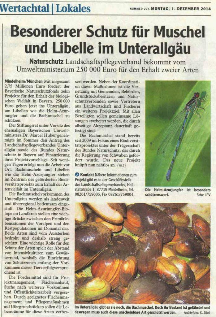Bachmuschel und Helmazurjungfer Projekt im Unterallgäu